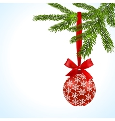Green tree branch with red ball and ribbon vector