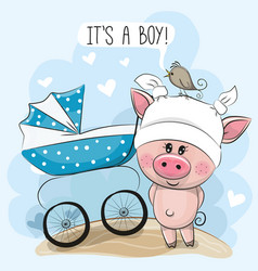 Greeting card its a boy with baby carriage and vector