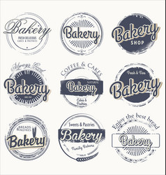 grunge label set for bakery vector image