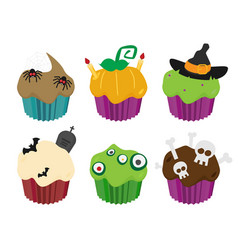 halloween cupcakes set flat vector image