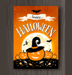 Halloween postcard with moon and pumpkins vector