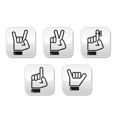 Hand gestures signals and signs vector image