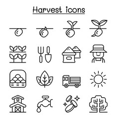 harvest icon set in thin line style vector image