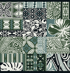 Hawaiian style tapa fabric patchwork tribal vector