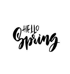 Hello spring handdrawn modern brushpen lettering vector