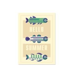 hello summer banner template trendy seasonal vector image