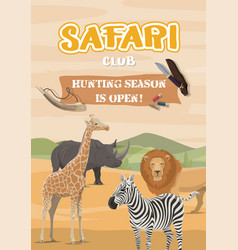 Hunting sport and safari wild african animals vector