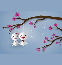 Japanese paper doll against rain vector