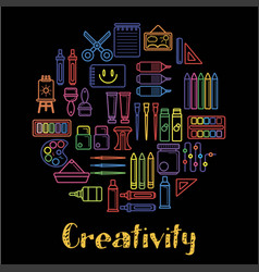 kids creativity and children art design poster of vector image
