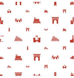 Landmark icons pattern seamless white background vector