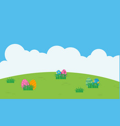 landscape of easter egg on hill flat vector image