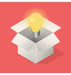 Lightbulb in box vector