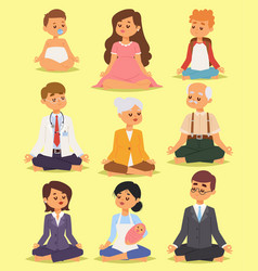 lotus position yoga pose meditation relax people vector image