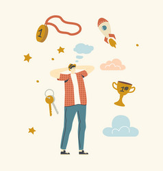 Male character dreaming success man thinking vector