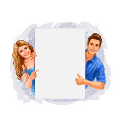 man woman holding banner vector image