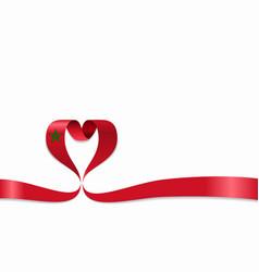 Moroccan flag heart-shaped ribbon vector