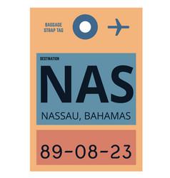 nassau airport luggage tag vector image