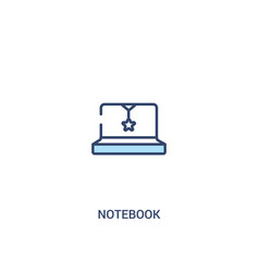 Notebook concept 2 colored icon simple line vector