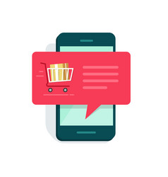 Notification on mobile phone new online order vector