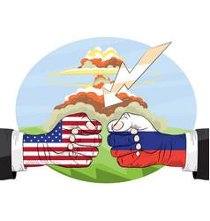 nuclear explosion russia vs america vector image