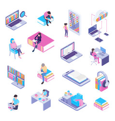 Online library isometric set vector