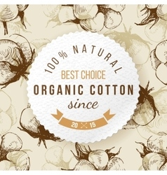 Organic cotton round label with type design vector image