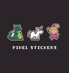 Pixel art stickers vector