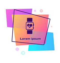 Purple smart watch showing heart beat rate icon vector