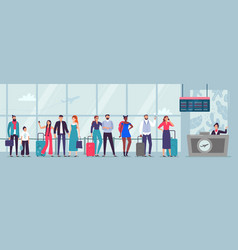 queue to airport check-in travelers waiting vector image
