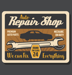 Repair shop retro poster with wrench and vehicle vector
