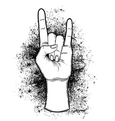 rock and roll sign hand drawn of vector image