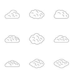 season cloud icon set outline style vector image