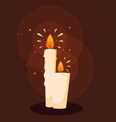 Set halloween candles light vector