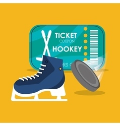 Set hockey skate puck and ticket vector