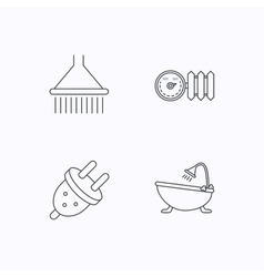 Shower bath and electric plug icons vector image