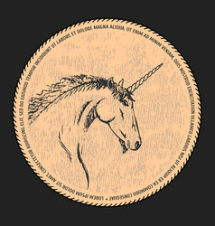 silhouette of a unicorn black and beige vector image
