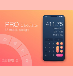 smartphone with calculator ui design with vector image