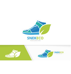 Sneaker and leaf logo combination shoe and vector