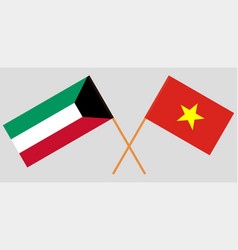 Socialist republic of vietnam and kuwait flags vector
