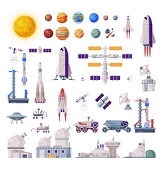 Space objects collection rocket shuttle rover vector