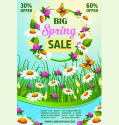 Spring holiday sale poster of flowers vector