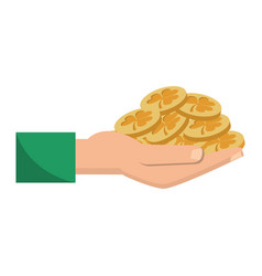 St patricks day hand holding coins vector