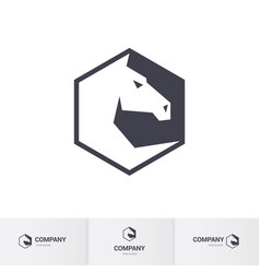 stylized white horse head for logo template vector image