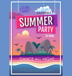 summer disco party poster with sea beach and islan vector image