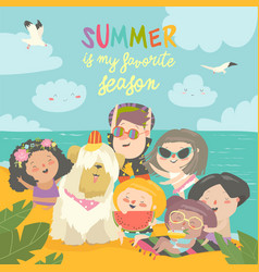 summer travel happy kids traveling summer in vector image
