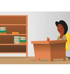 Teacher classroom bookcase vector