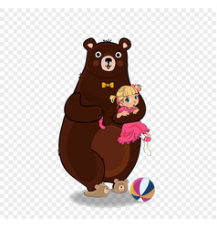 teddy bear hold little baby girl in pink dress vector image