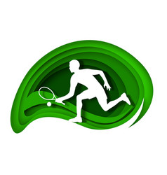 Tennis player with racket and ball white vector