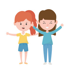two women hugging friendly characters vector image