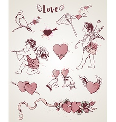 Valentine vintage design elements vector image